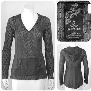 PrAna Breathe Gray Mesh Kangaroo Pocket - Size M